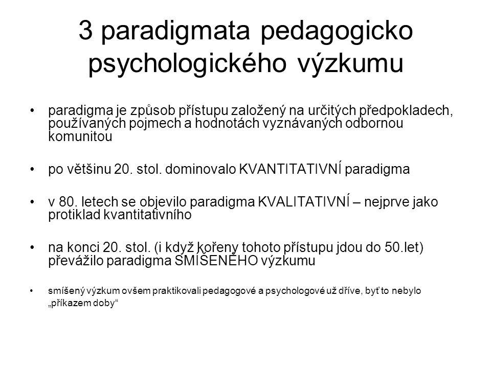 3 paradigmata pedagogicko psychologického výzkumu