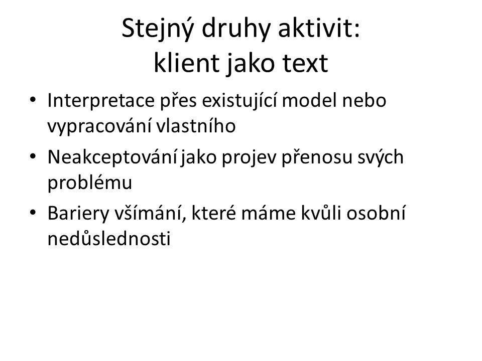Stejný druhy aktivit: klient jako text