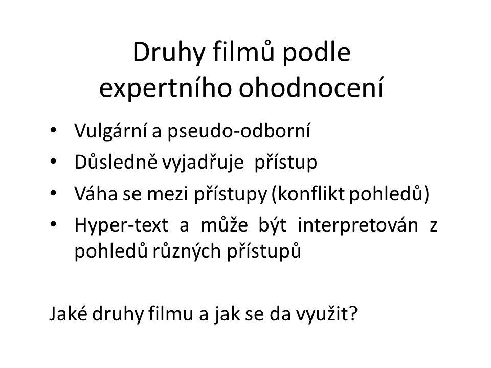 Druhy filmů podle expertního ohodnocení