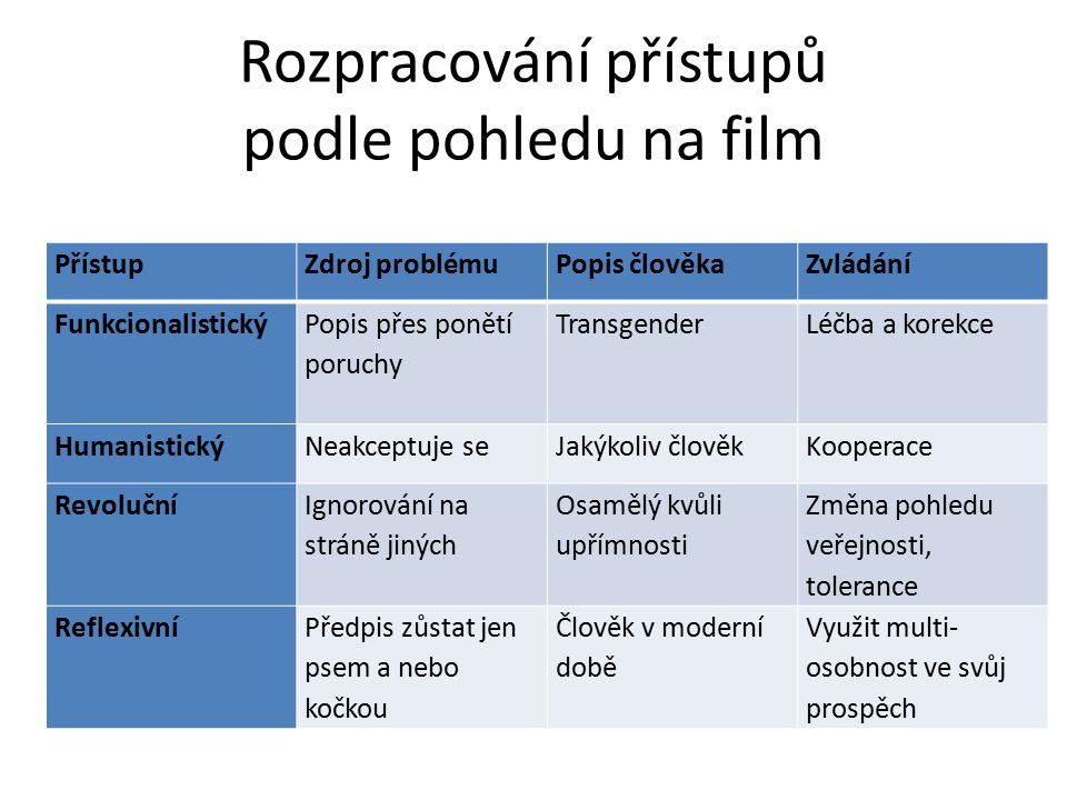 Rozpracování přístupů podle pohledu na film