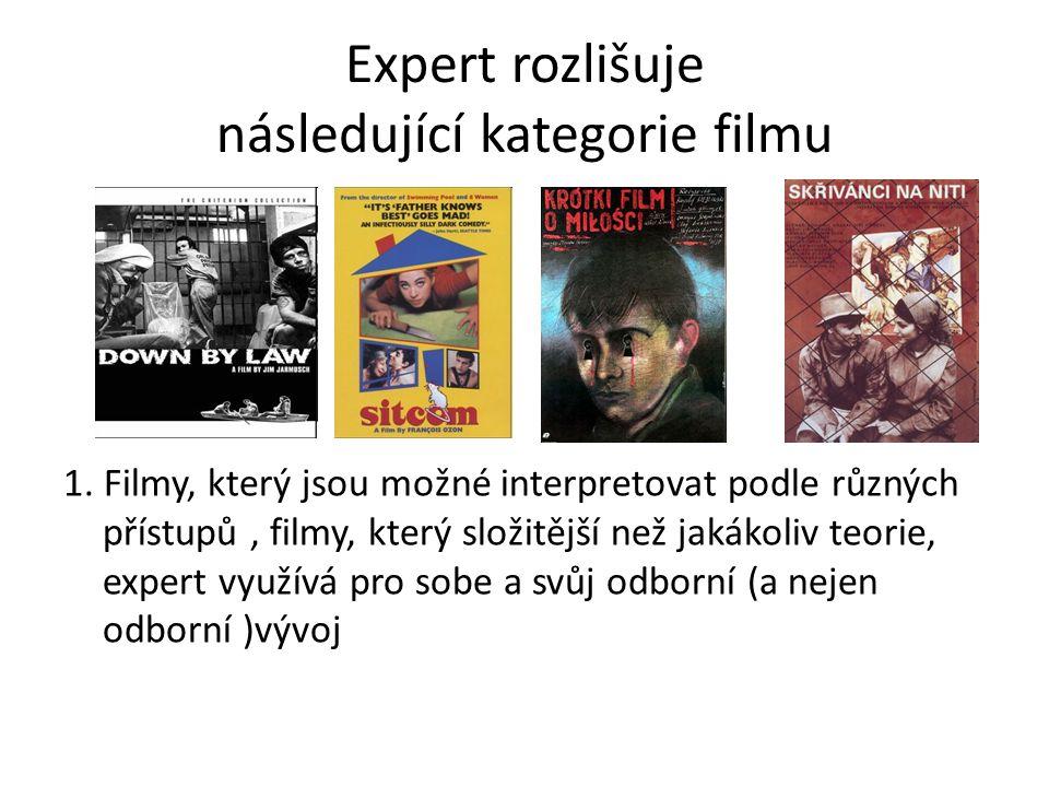 Expert rozlišuje následující kategorie filmu