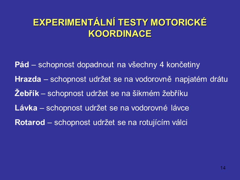 EXPERIMENTÁLNÍ TESTY MOTORICKÉ KOORDINACE