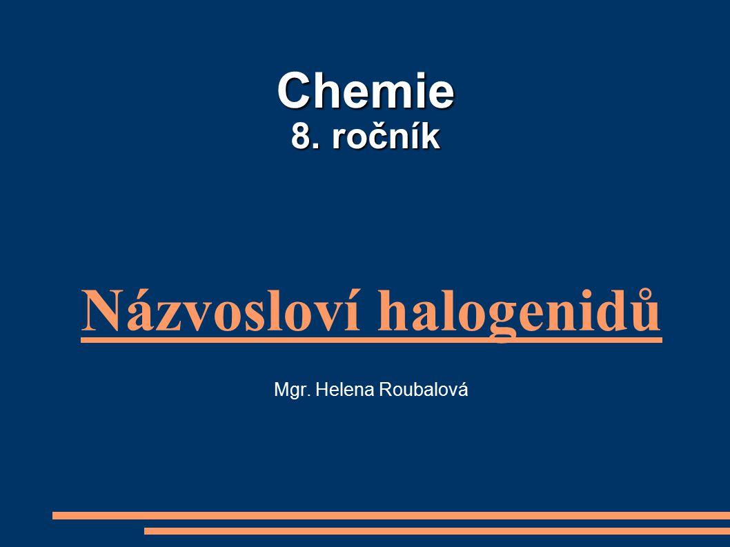 Názvosloví halogenidů Mgr. Helena Roubalová