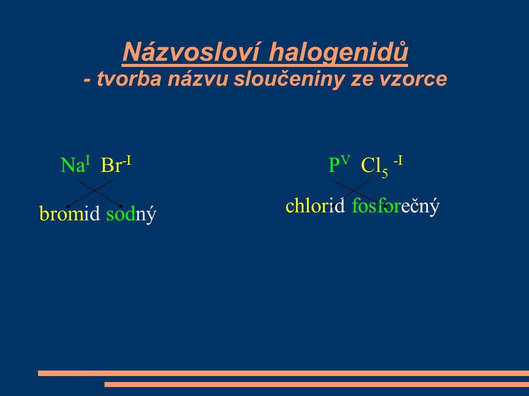 Názvosloví halogenidů - tvorba názvu sloučeniny ze vzorce