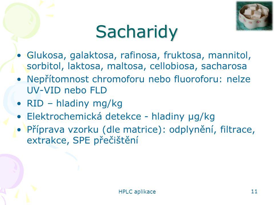 Sacharidy Glukosa, galaktosa, rafinosa, fruktosa, mannitol, sorbitol, laktosa, maltosa, cellobiosa, sacharosa.