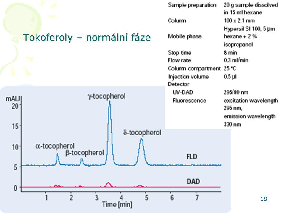Tokoferoly – normální fáze