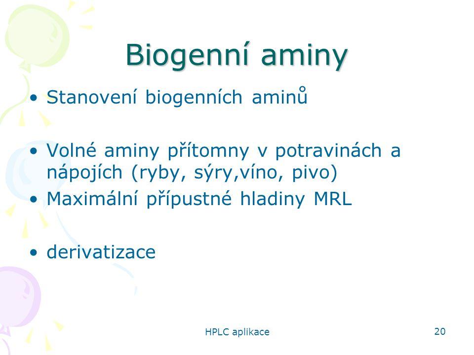 Biogenní aminy Stanovení biogenních aminů