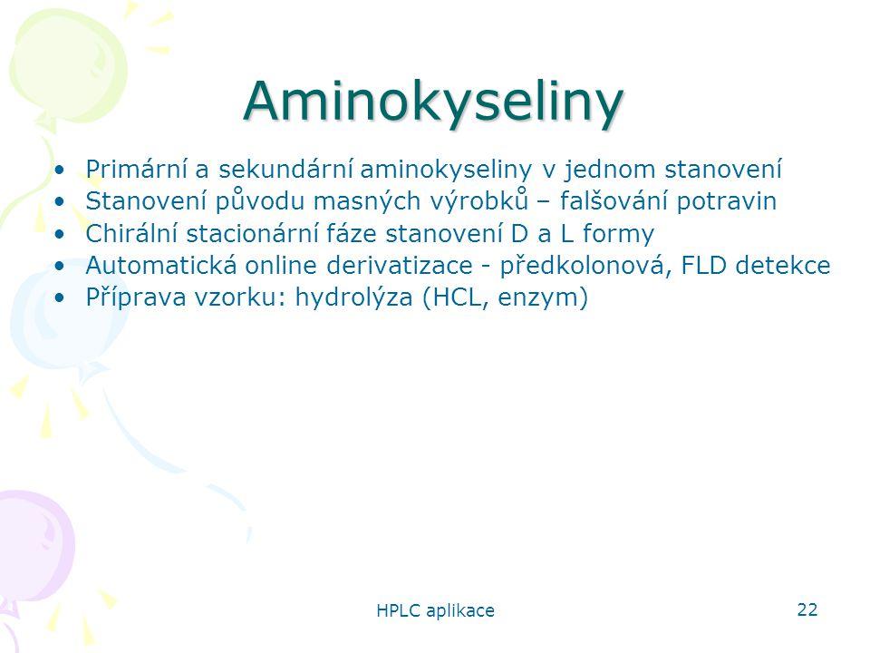 Aminokyseliny Primární a sekundární aminokyseliny v jednom stanovení