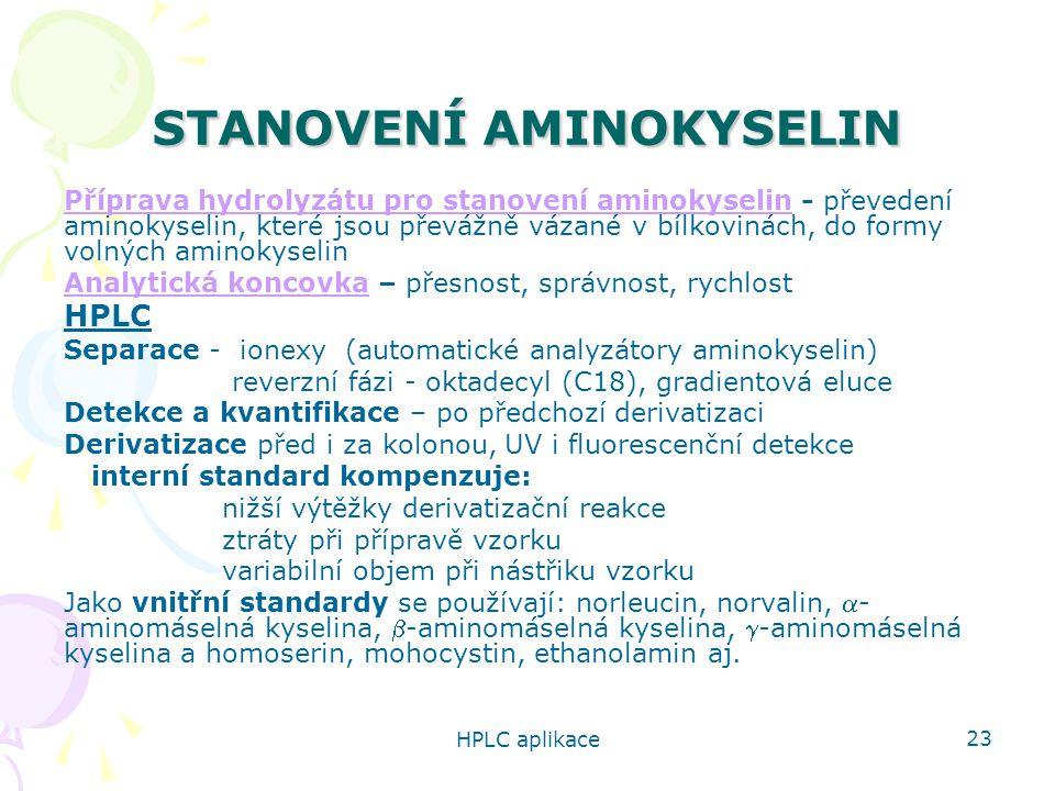 STANOVENÍ AMINOKYSELIN