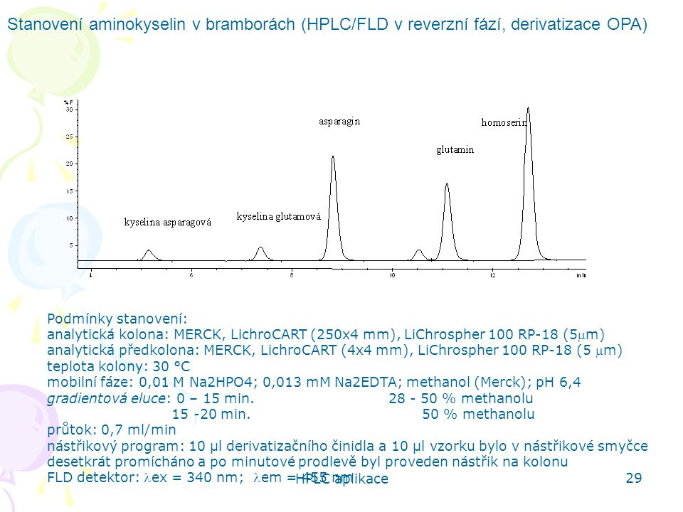 Stanovení aminokyselin v bramborách (HPLC/FLD v reverzní fází, derivatizace OPA)