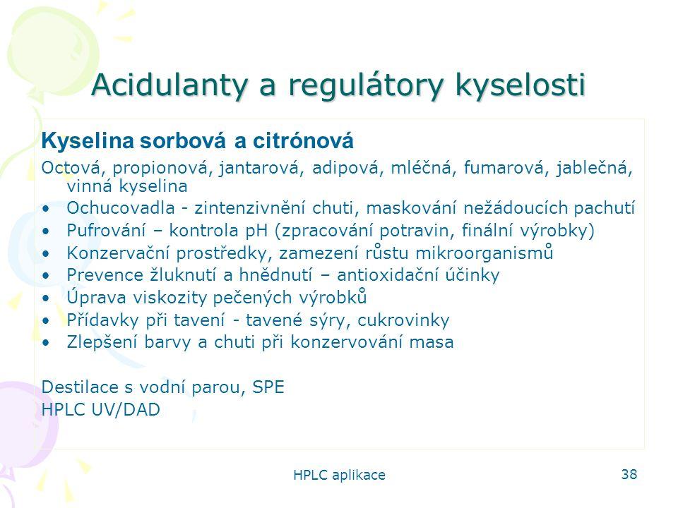 Acidulanty a regulátory kyselosti