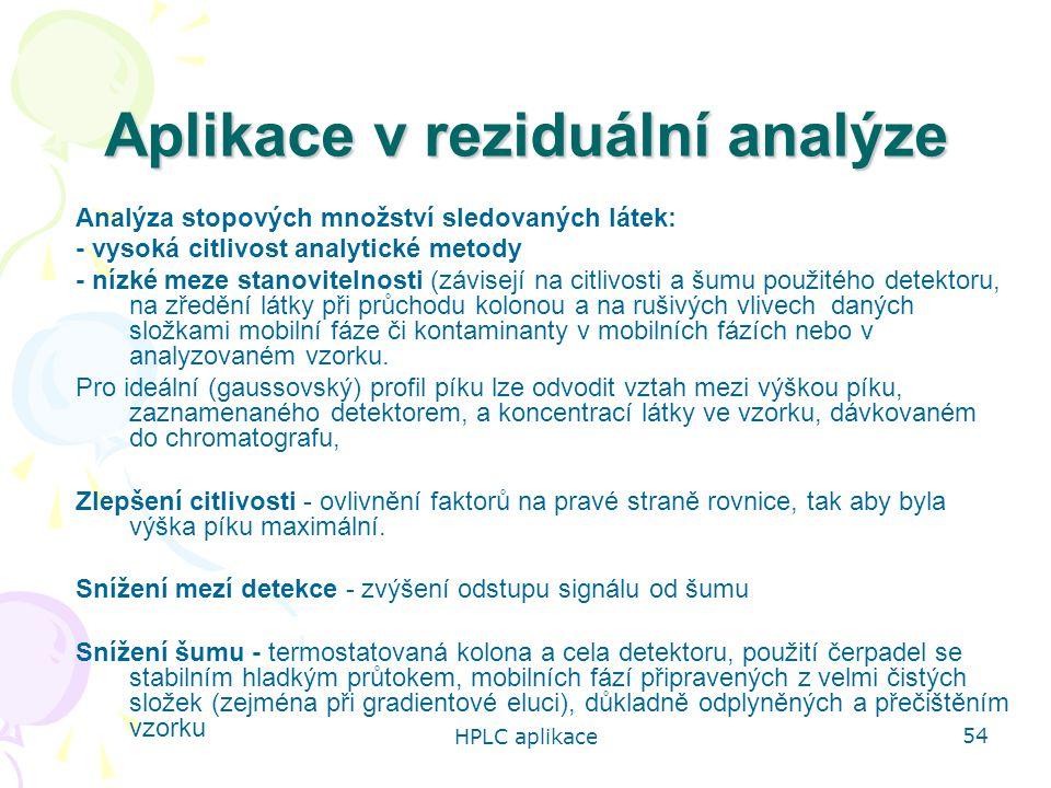 Aplikace v reziduální analýze