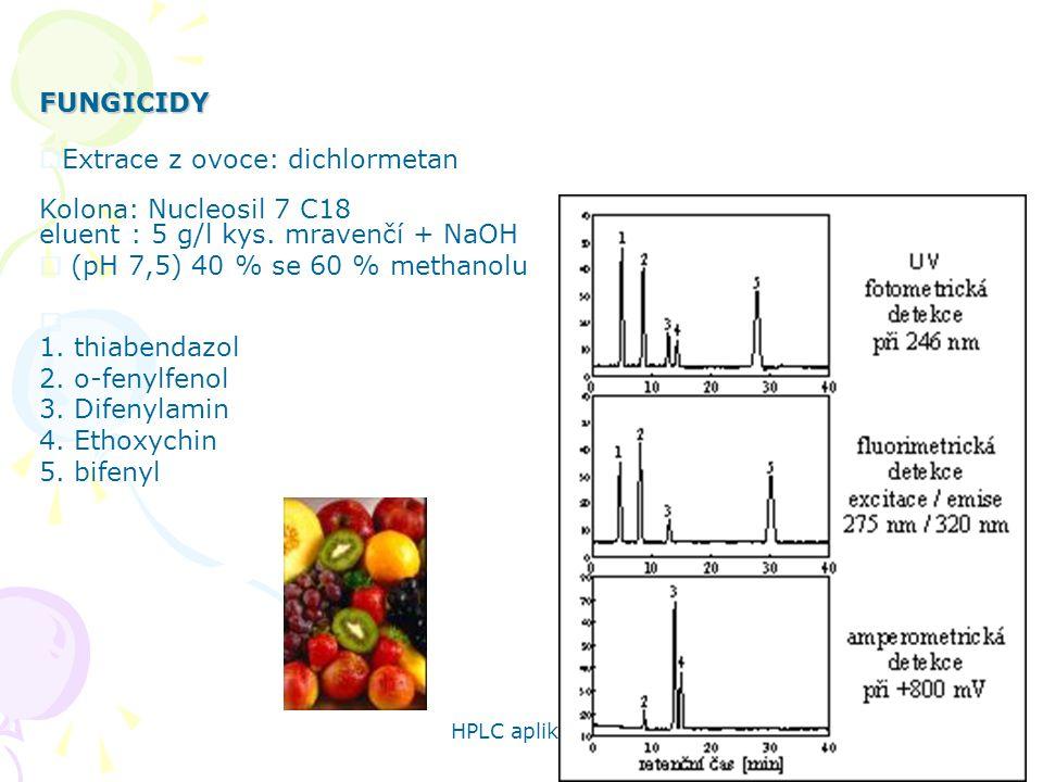 FUNGICIDY Extrace z ovoce: dichlormetan Kolona: Nucleosil 7 C18 eluent : 5 g/l kys. mravenčí + NaOH.