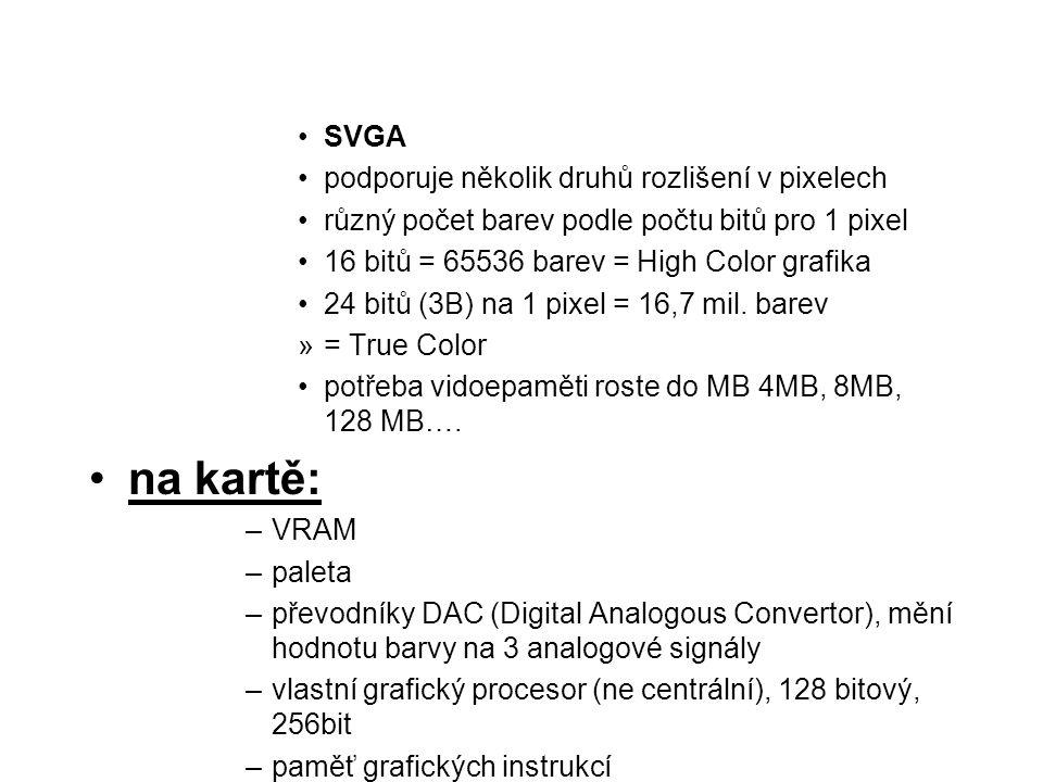 na kartě: SVGA podporuje několik druhů rozlišení v pixelech