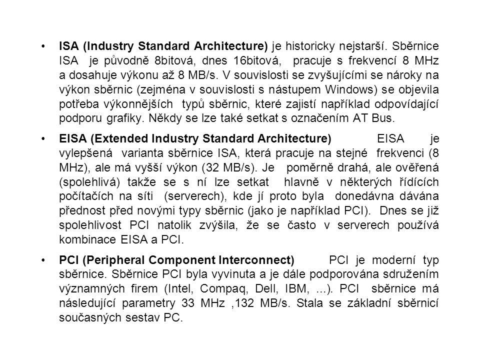 ISA (Industry Standard Architecture) je historicky nejstarší