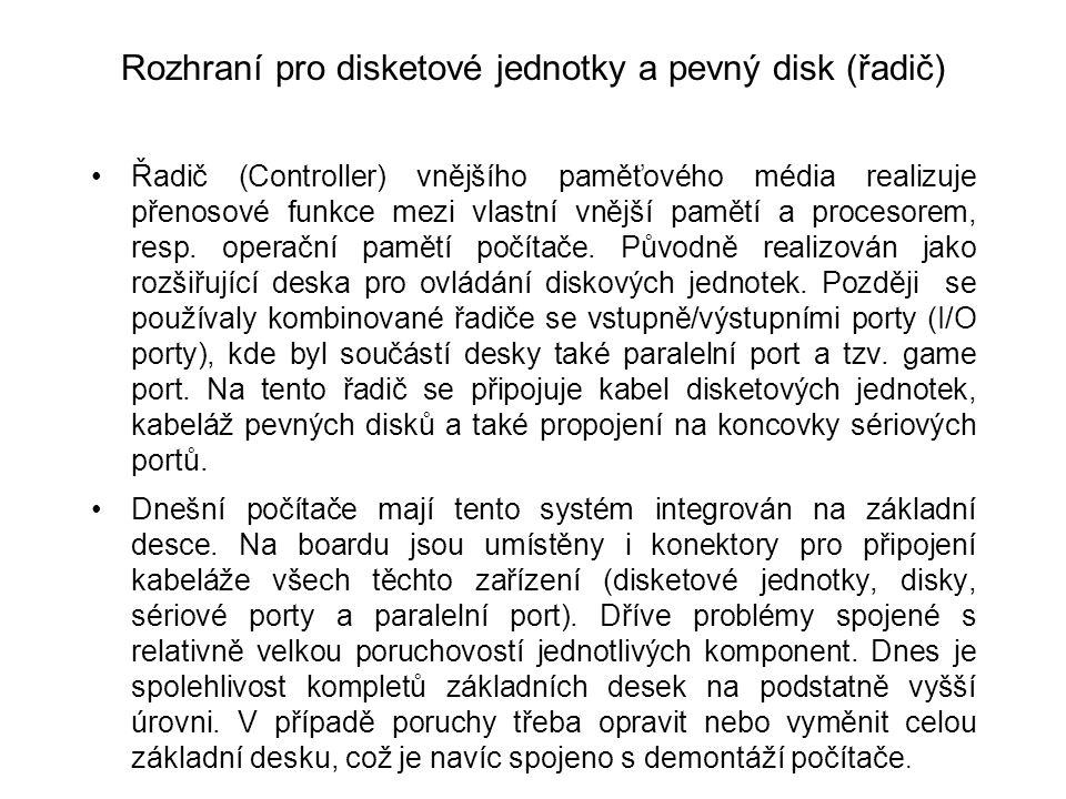 Rozhraní pro disketové jednotky a pevný disk (řadič)