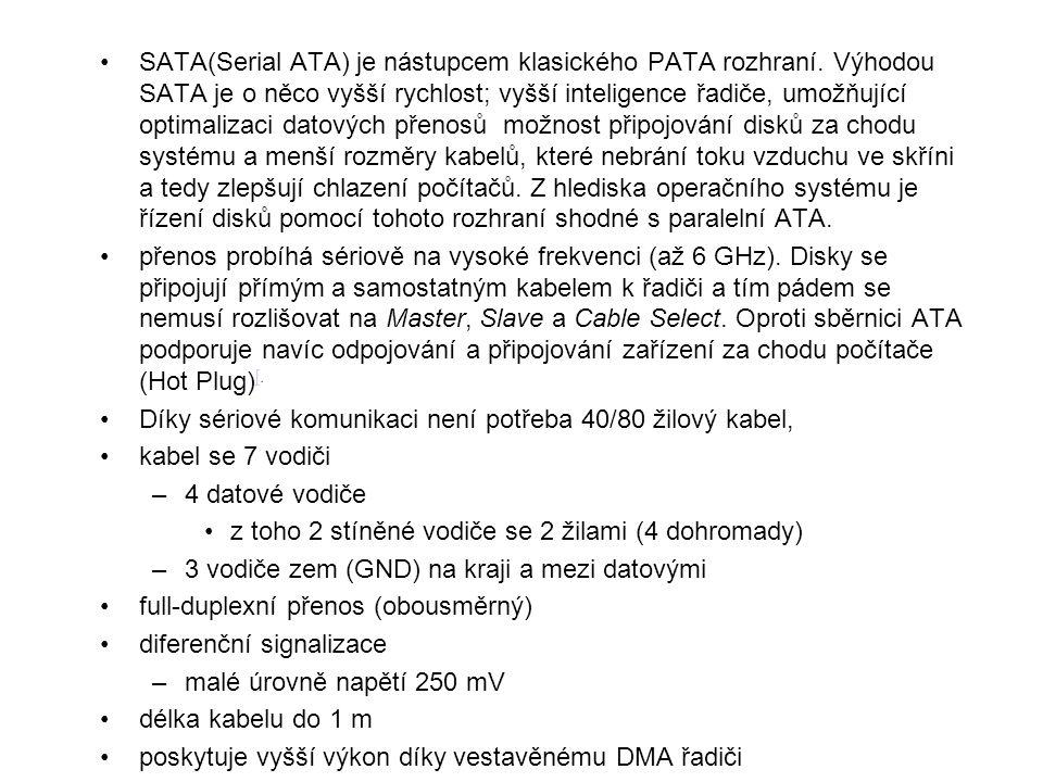 SATA(Serial ATA) je nástupcem klasického PATA rozhraní