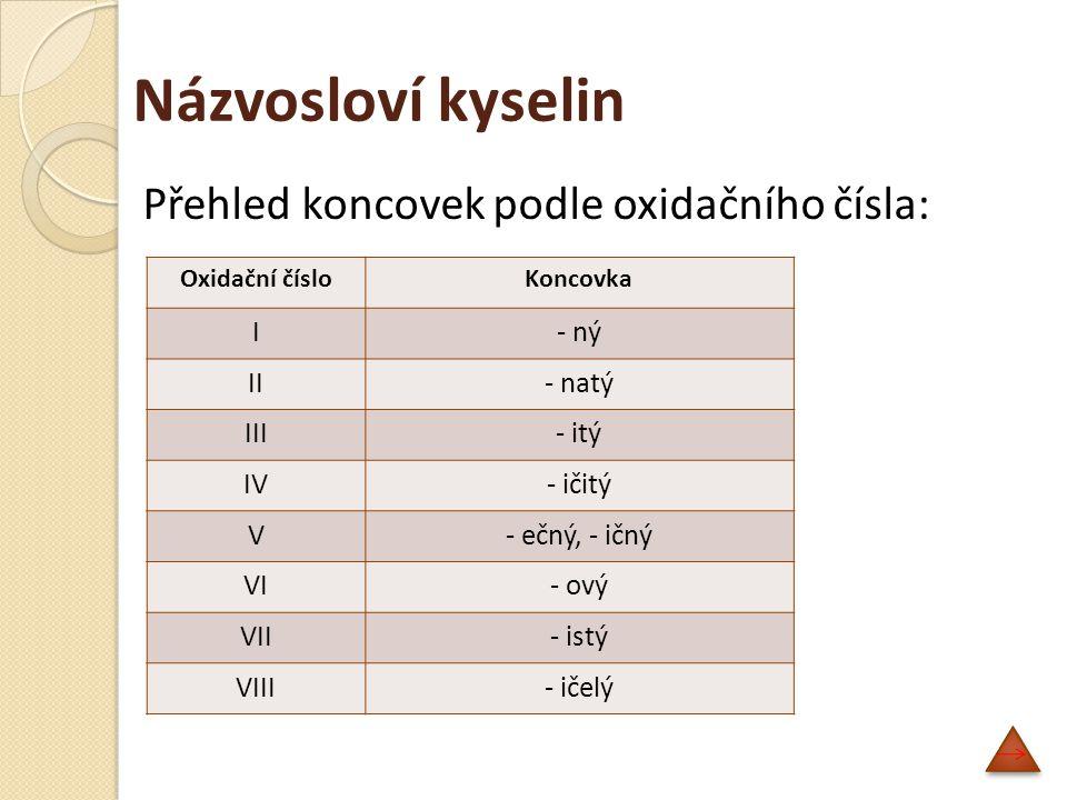 Názvosloví kyselin Přehled koncovek podle oxidačního čísla: I - ný II