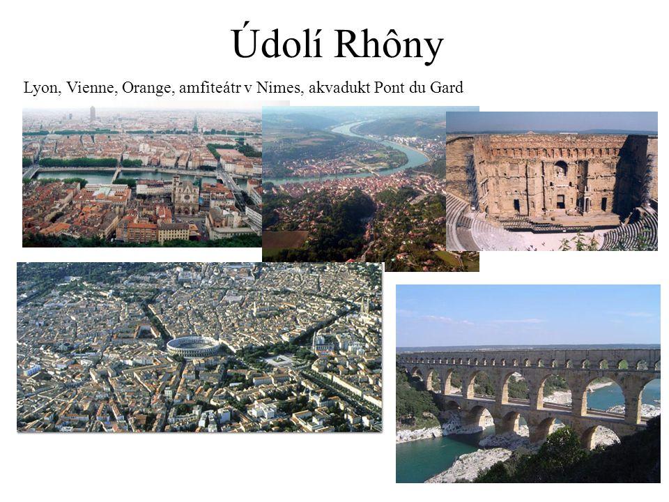 Údolí Rhôny Lyon, Vienne, Orange, amfiteátr v Nimes, akvadukt Pont du Gard