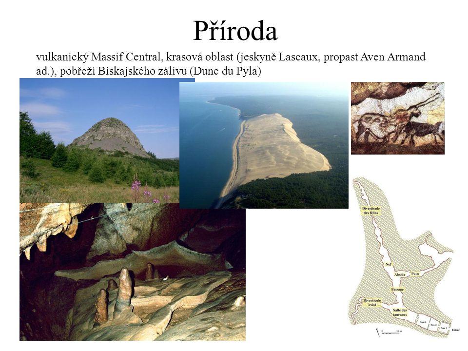 Příroda vulkanický Massif Central, krasová oblast (jeskyně Lascaux, propast Aven Armand ad.), pobřeží Biskajského zálivu (Dune du Pyla)