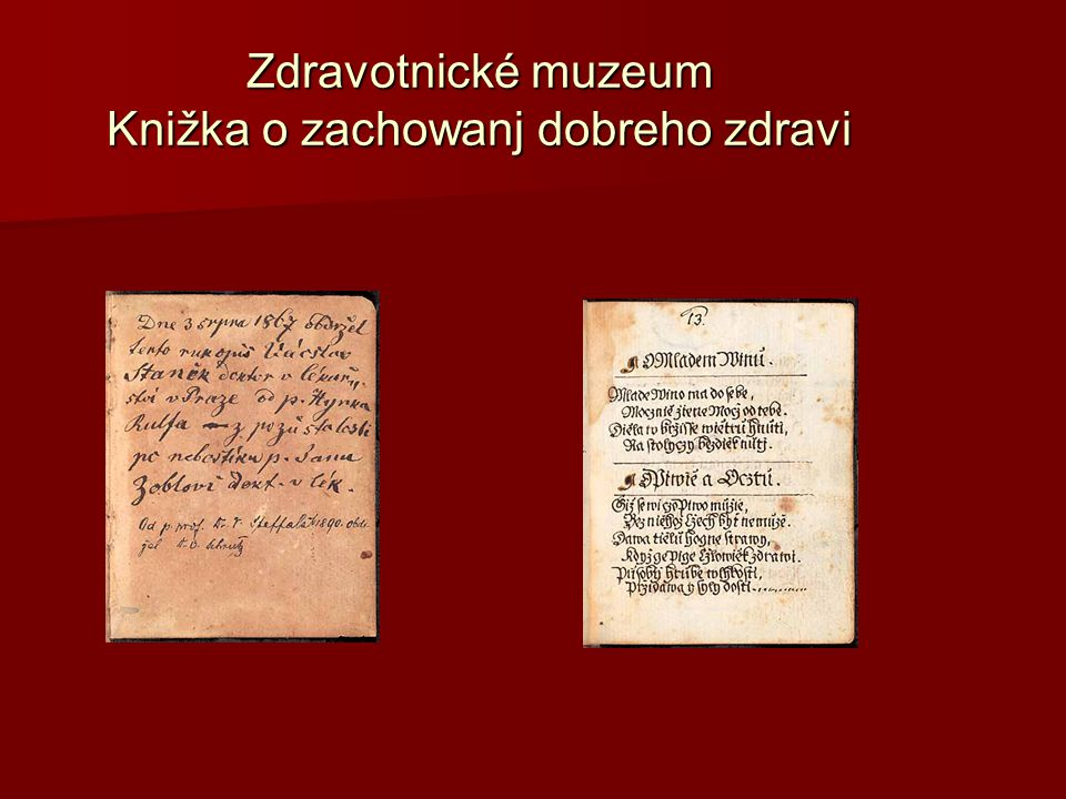 Zdravotnické muzeum Knižka o zachowanj dobreho zdravi