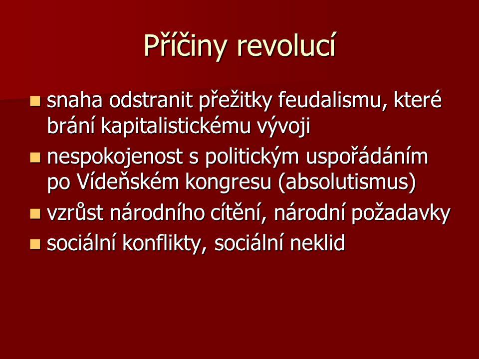 Příčiny revolucí snaha odstranit přežitky feudalismu, které brání kapitalistickému vývoji.