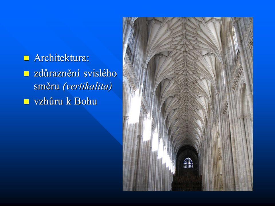 Architektura: zdůraznění svislého směru (vertikalita) vzhůru k Bohu