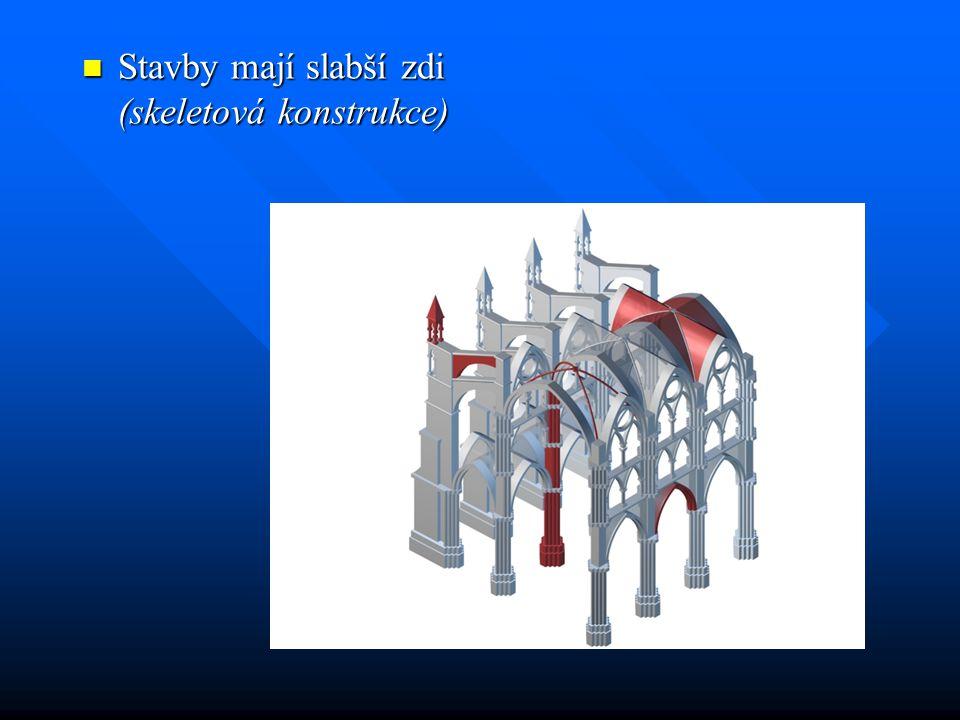 Stavby mají slabší zdi (skeletová konstrukce)