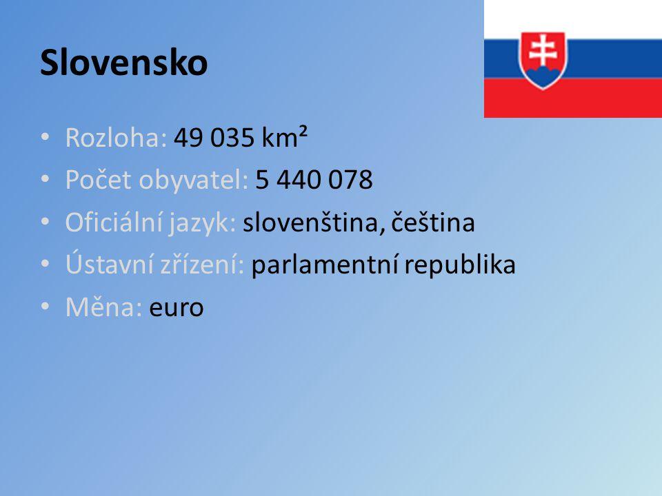 Slovensko Rozloha: 49 035 km² Počet obyvatel: 5 440 078