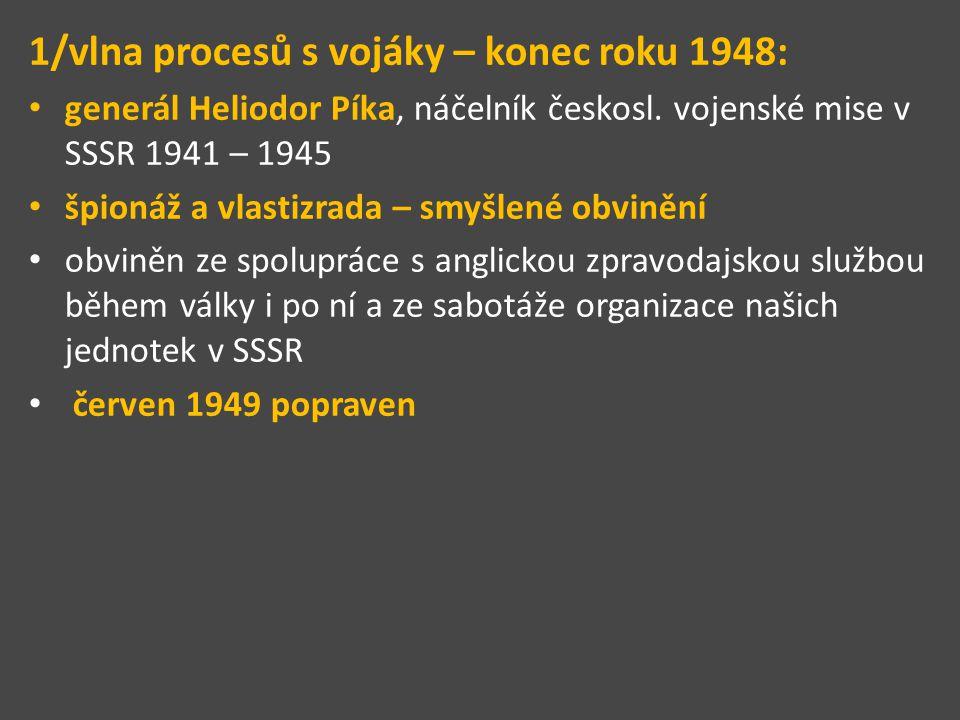 1/vlna procesů s vojáky – konec roku 1948: