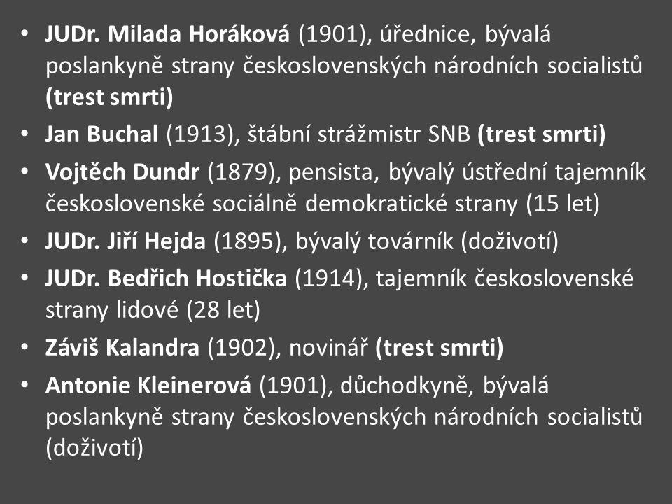 JUDr. Milada Horáková (1901), úřednice, bývalá poslankyně strany československých národních socialistů (trest smrti)