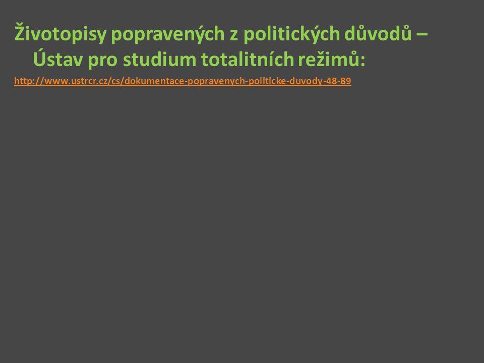 Životopisy popravených z politických důvodů – Ústav pro studium totalitních režimů: