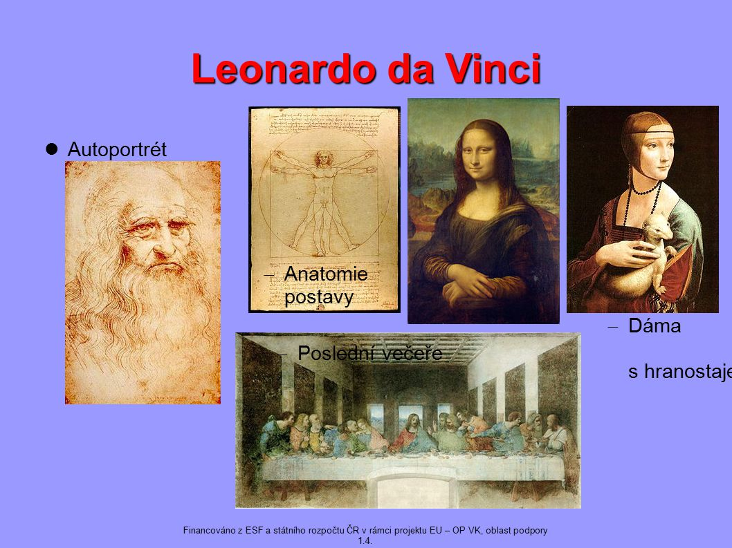 Leonardo da Vinci Autoportrét Anatomie postavy Dáma s hranostajem