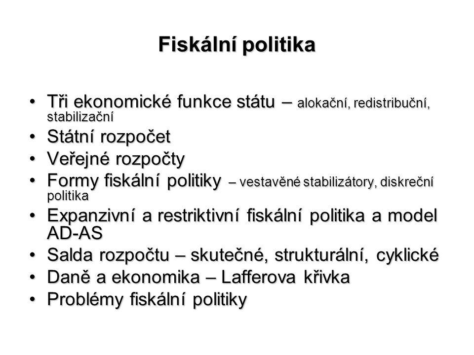 Fiskální politika Tři ekonomické funkce státu – alokační, redistribuční, stabilizační. Státní rozpočet.