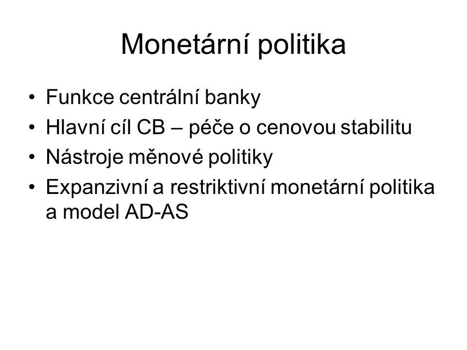Monetární politika Funkce centrální banky