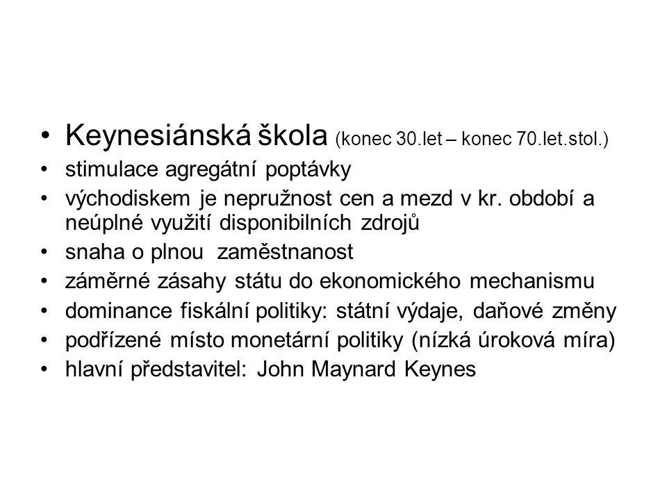 Keynesiánská škola (konec 30.let – konec 70.let.stol.)
