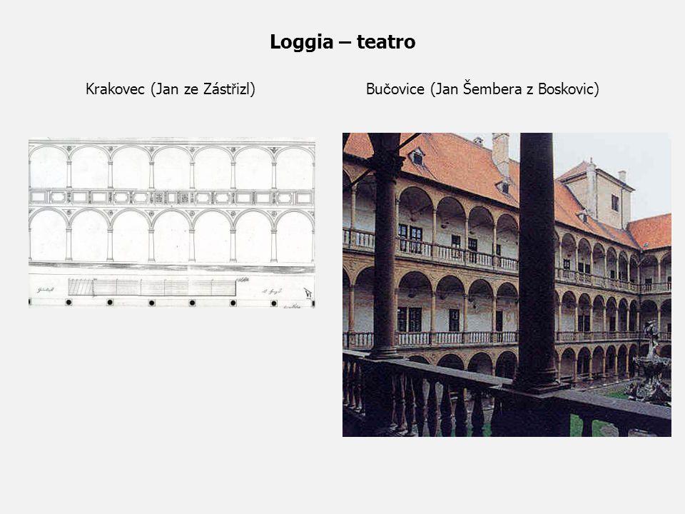 Loggia – teatro Krakovec (Jan ze Zástřizl) Bučovice (Jan Šembera z Boskovic)