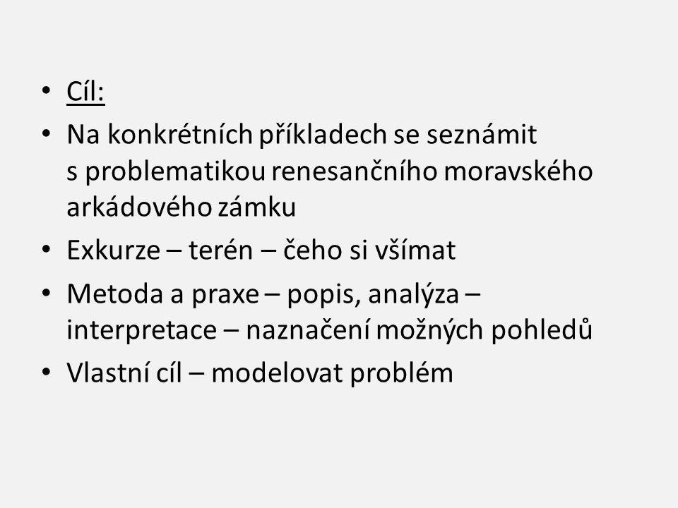 Cíl: Na konkrétních příkladech se seznámit s problematikou renesančního moravského arkádového zámku.