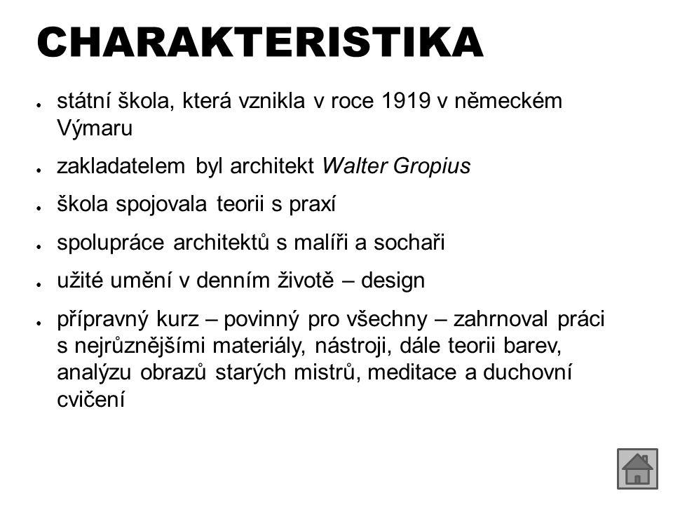 CHARAKTERISTIKA státní škola, která vznikla v roce 1919 v německém Výmaru. zakladatelem byl architekt Walter Gropius.