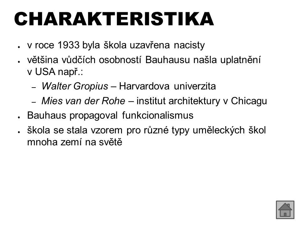 CHARAKTERISTIKA v roce 1933 byla škola uzavřena nacisty