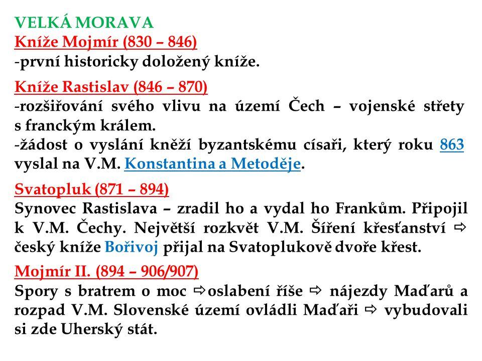 VELKÁ MORAVA Kníže Mojmír (830 – 846) první historicky doložený kníže. Kníže Rastislav (846 – 870)