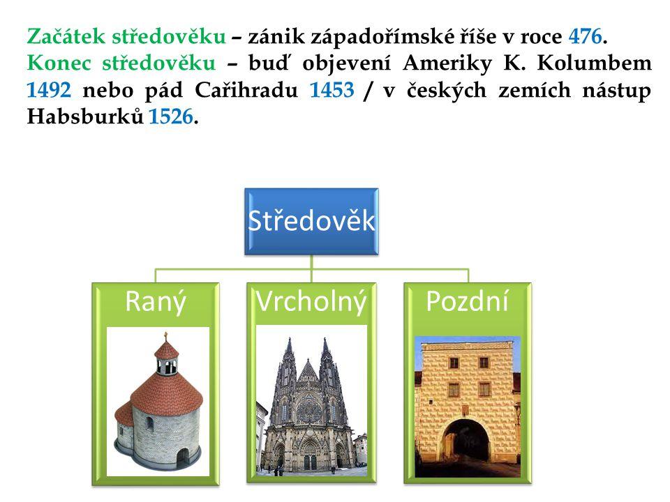 Začátek středověku – zánik západořímské říše v roce 476.