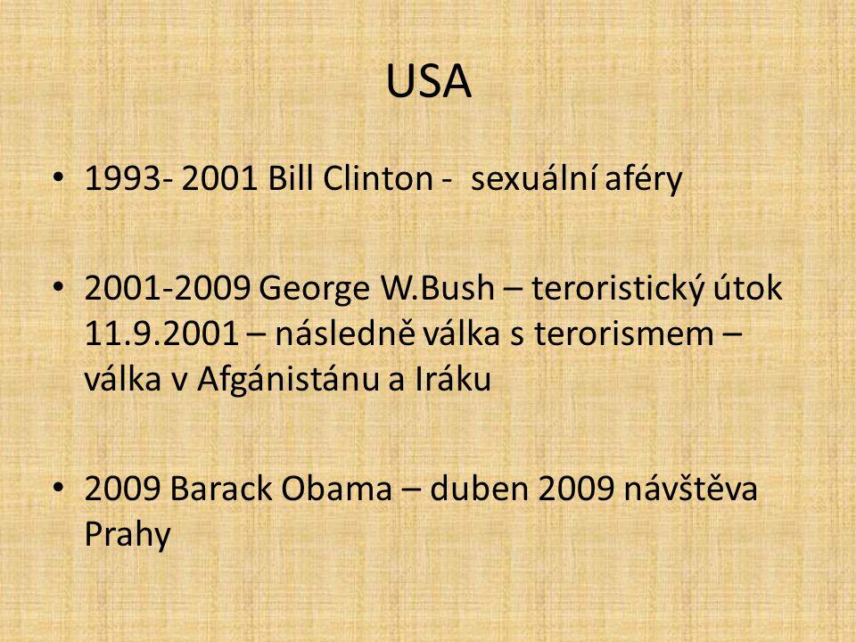 USA 1993- 2001 Bill Clinton - sexuální aféry