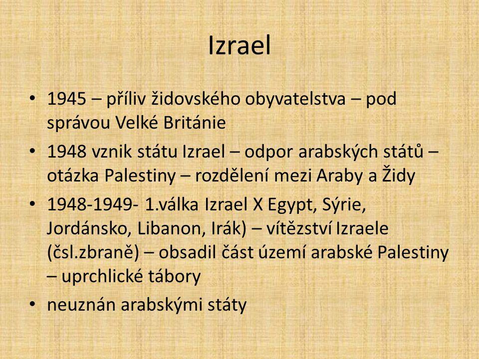 Izrael 1945 – příliv židovského obyvatelstva – pod správou Velké Británie.