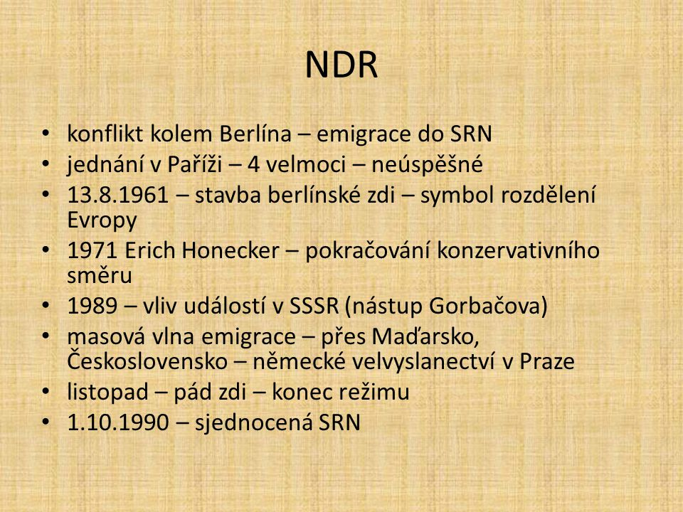 NDR konflikt kolem Berlína – emigrace do SRN