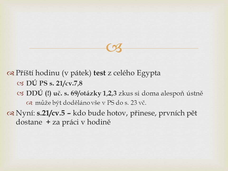 Příští hodinu (v pátek) test z celého Egypta