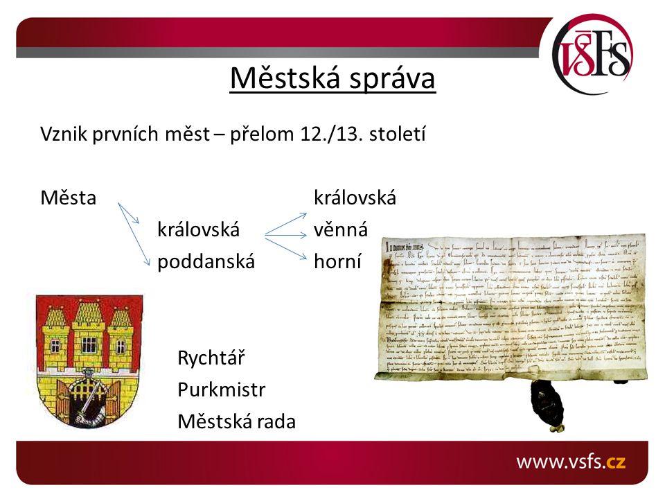 Městská správa Vznik prvních měst – přelom 12./13.
