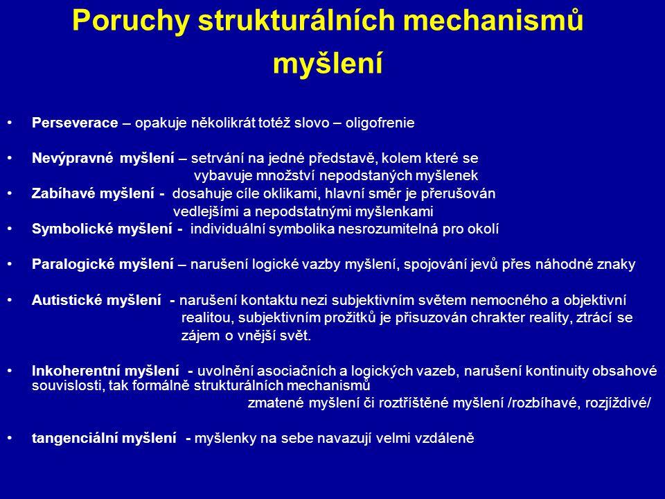 Poruchy strukturálních mechanismů myšlení