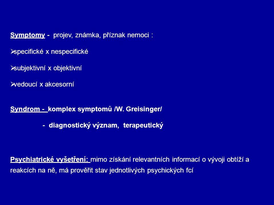 Symptomy - projev, známka, příznak nemoci :