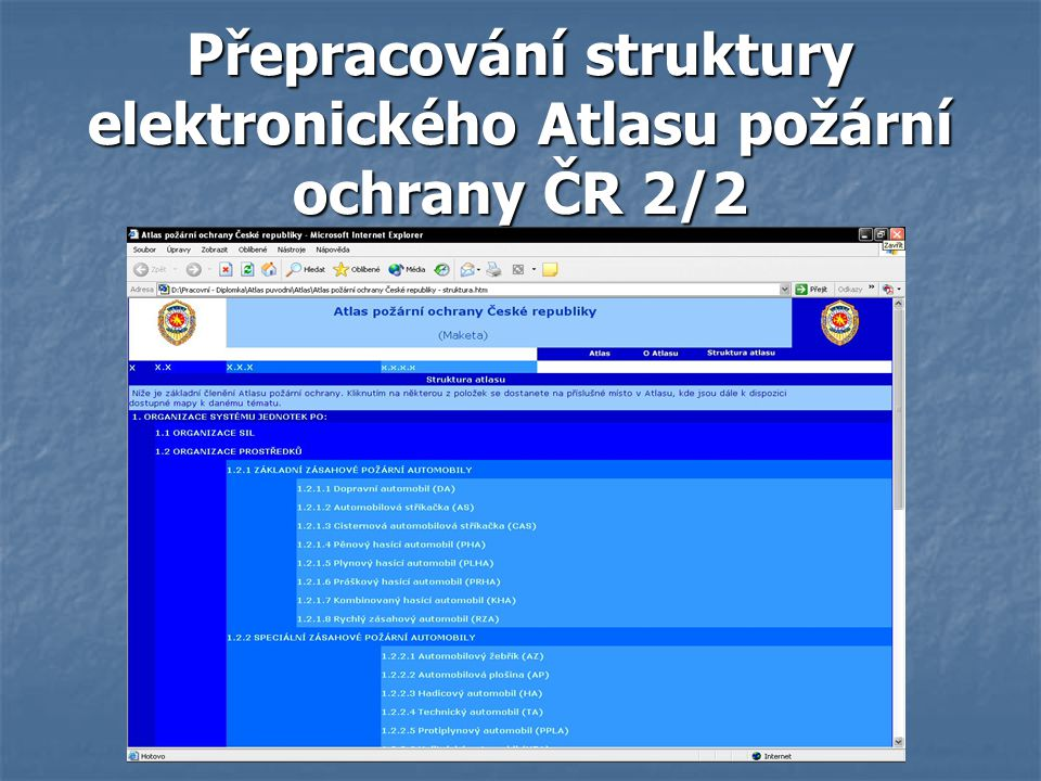 Přepracování struktury elektronického Atlasu požární ochrany ČR 2/2